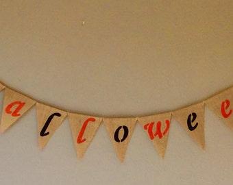 Halloween Bunting Banner Hessian Burlap