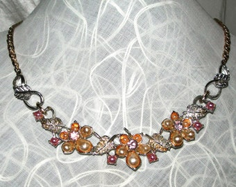Art Deco,Pearl ,necklace, vintage, costume, jewellery, flowers and leaves
