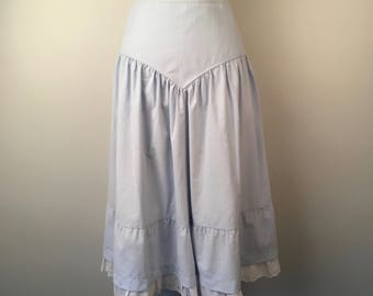 Ruffled Denim Skirt with White Eyelet Lace Long Full Light Wash Yoke Waist Jean Skirt 26 inch waist