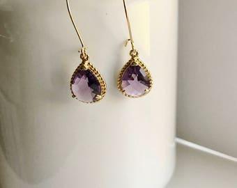 Purple and gold drop earrings, wedding earrings, bridesmaids earrings, bridesmaid jewelry, modern earrings, everyday jewelry, gift