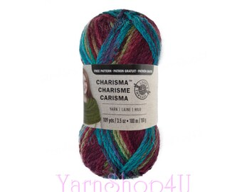 MULBERRY Bulky Charisma Loops and Threads. Bulky yarn with a Purple, Blue & Green colors. Dark Colors Variegated Soft Acrylic. 3.5oz 109yd >