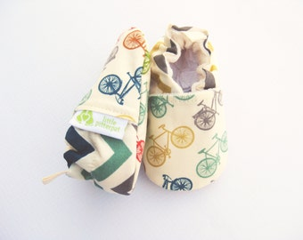 Organic Vegan Fun Bikes with Chevron / All Fabric Soft Sole Baby Shoes / Made to Order / Babies Gift Girl Boy