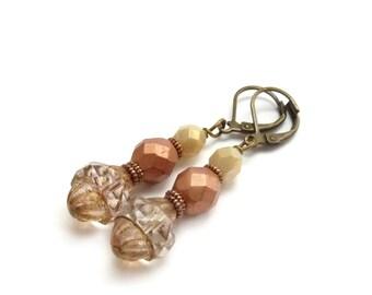 Copper Czech Glass Dangle Earrings - Antiqued Oval Turbine Beads - Fire Polished Glass - Bohemian Bridal Jewelry