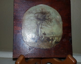 40% SALE!! Vintage Handmade Decoupage Pastoral Scene c. 1960s