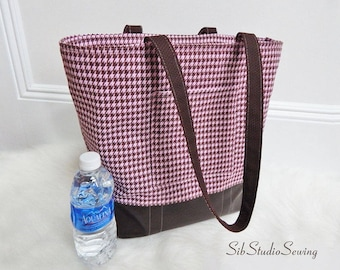 "Pink Brown Tote, 14.5 "" H, 15.5 W"", Lots of Pockets, Padded and Fully Lined, Zipper Closure, Pink and Brown Checks with Faux Leather Bottom"