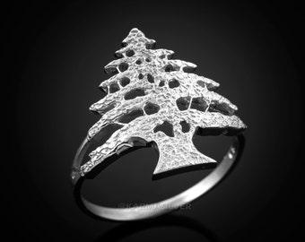 Sterling Silver Cedar Tree of Lebanon Ladies Ring