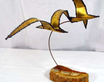 Vintage Double Seagull Metal Table Art Sculpture Handcrafted on Rock Formation Base