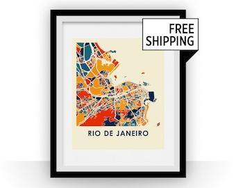Rio de Janeiro Map Print - Full Color Map Poster