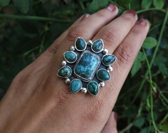 Size 8 Turquoise Bloom Sterling Silver Ring