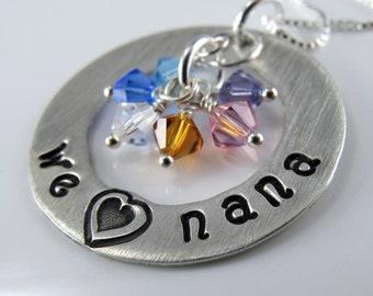 "We Love Nana Necklace - 1"" Hand Stamped Personalized Sterling Silver Donut, Swarovski Birthstone Crystals"