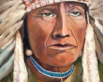 Chief with War Bonnet, Feathered Headdress, Indian Chief, Oil Painting, American Portrait, Indian Painting