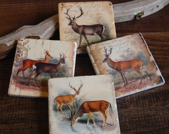 Vintage Deer stone coasters (set of 4)