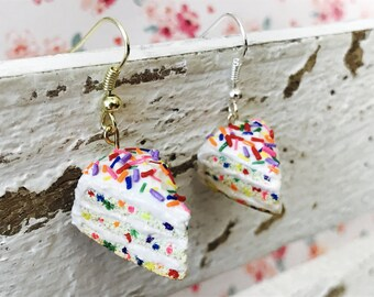 Confetti Cake, Handmade Polymer Clay Miniature, Charm/Earrings/Necklace