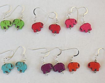 Elephants gemstone all sterling silver drop earrings adorable animal earrings great gift under 15 dollars  all sterling silver color choice