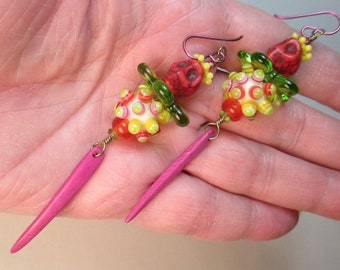 Mardi Gras Earrings with Handmade Lampwork Glass Bead Focals by Patti Cahill