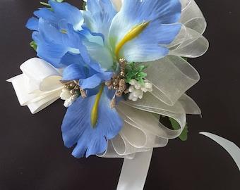 Blue iris corsage,  Blue wedding,  Blue Prom