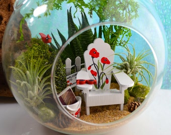 "Garden Terrarium Kit ~ 7"" Air Plant Terrarium Kit ~ Hand-painted Chair with Poppies ~ Purse with Poppies ~ Redbird ~ Book ~ Gift for her"