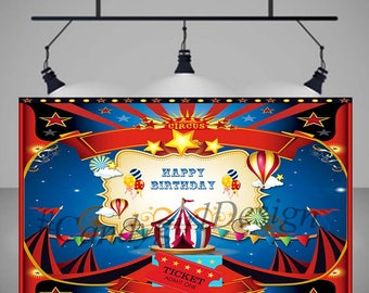 Circus  Printable Party Backdrop,red white blue, Decorations, Poster, Sign, Banner, Birthday Party Full size-**Can be customized **