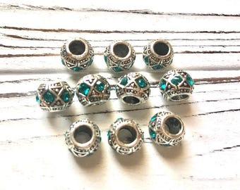 10 Pcs. European Beads Antique Silver Crystal Rhinestone Teal Euro Beads Charm Large Hole Rhinestone Spacer Beads