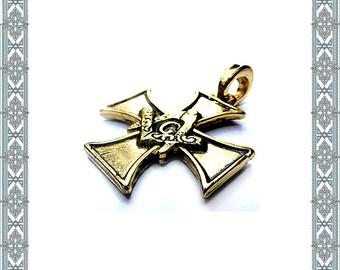 Chain pendant masonry Cross gilded pendant secret Covenant amulet Historic Medallion World Conspiracy Antique Jewelry