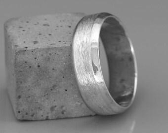 14k Solid White Gold Men's Wedding Band in Rough Brushed Beveled Style | 14k solid white gold beveled men ring | 5mm 6mm 7mm