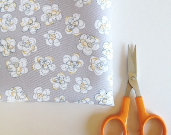 Pale Grey Floral fabric, Small pretty flowers, mustard yellow detail, fat quarter, Limited edition