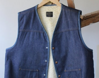 Vintage Denim and Shearling Vest Sears Roebuck Workwear Men's Patch Pockets Outdoorsman Clothing for Men Snap Front Lumberjack Warm Winter