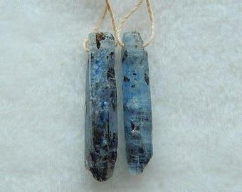 Nugget Blue Kyanite Gemstone Earring Bead,28x5x4mm,4.2g,-E4450