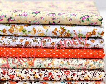 7 coupons fabric Betsy 25 x 25 cm Patchwork flower tones Orange flowers sewing #7131