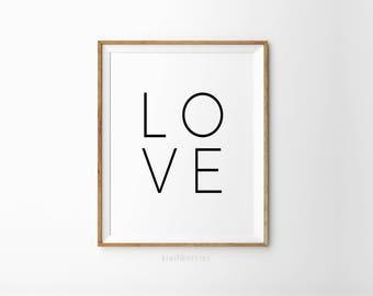 LOVE print - Typography wall art - Minimalist decor - Black and white - Monochrome art - Love typography - Simple wall prints