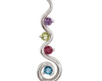 Mothers pendant. Birthstone pendant. Family jewelry. Family pendant. Mother's day gift. Colored stones. swirl design. swirl pendant