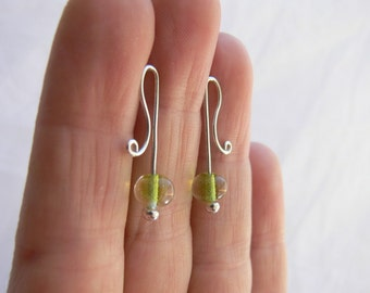 Green earrings, Lime earrings, Lime green earrings, Silver studs, Silver wire earrings, Wire wrap earrings, Glass bead studs, Silver earring