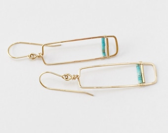 Short Gold , Rectangle with Turquoise Earring / simple/ lightweight/ modern/rectangular/ geometric/ gold fill/ turquoise