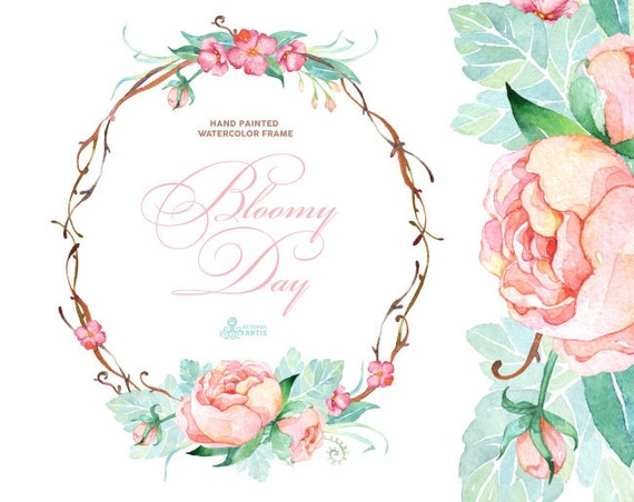 Bloomy Day. Watercolor Frame, wreath, wedding invitation, floral ...