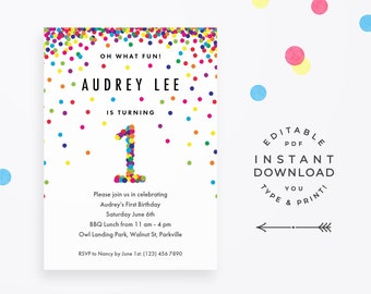 Rainbow 1st Birthday Invitation Editable PDF, instant download printable. Cute rainbow confetti invite for boy or girl first birthday party!
