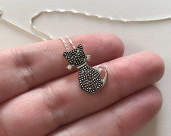 Marcasite 925 Sterling Silver Petite Elegant Cat Pendant Necklace