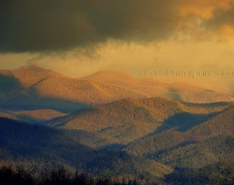 Mountain Landscape, Photography, in Gold and Brown, Earth tones, Nature, Blue Ridge Mountains, Smokey Mountains