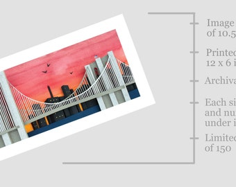 Brooklyn Bridge Cut Paper Illustration - Limited Edition Archival Print