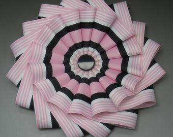 Pink, Black and White Wheel Cocarde Applique