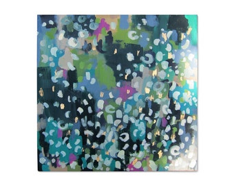 Rain or Shine Abstract Painting with Gold Accents