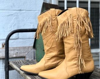 7 M   Vintage Honey Brown Fringe Boots by Acme