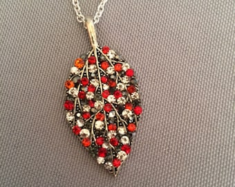 Red, Black, and Crystal Rhinestone Silver Leaf Necklace; Rhinestone Necklace; Leaf Pendant Necklace; Rhinestone Necklace; Crystal Necklace