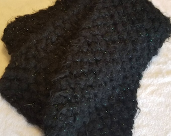 Chunky & Fuzzy Black Scarf with Green Shimmer