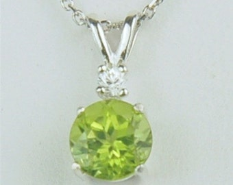 Peridot Necklace 7mm Round 1.60ct With White Zircon Accent Sterling Silver Natural Untreated