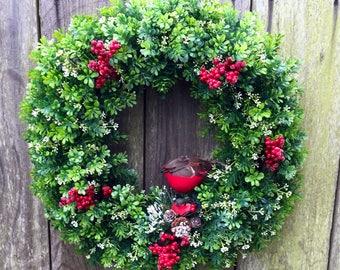 Christmas wreath, Boxwood wreath, Christmas door decor, winter wreath, Boxwood Christmas wreath Farmhouse wreath, Winter door decor, Holiday