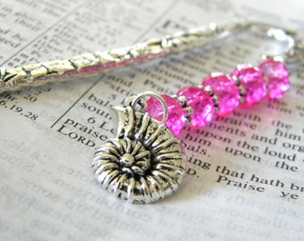 Spiral Shell Bookmark with Hot Pink Glass Beads Flower Shepherd Hook Bookmark Silver Color