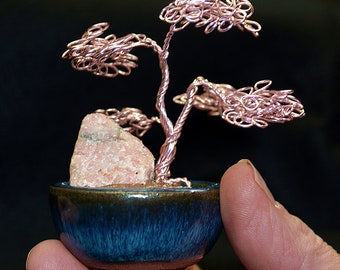 Pink wire bonsai with pink stone
