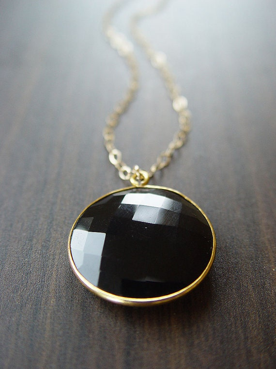 Round black onyx gold necklace like this item aloadofball Choice Image