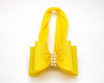 Yellow Big Bow Headband, Yellow Baby Headband, Baby Bow Headband, Newborn Headband, Baby Girl Headband, Nylon Headband, Bow Headband, 936