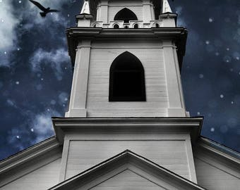 "Surreal church photography dark blue grey gothic clouds fantasy night - ""The midnight hour"" 8 x 10"